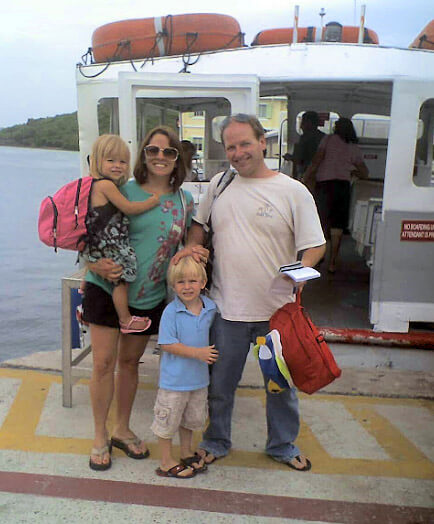 Young parents with two children on St John Cruz Bay Ferry Dockk