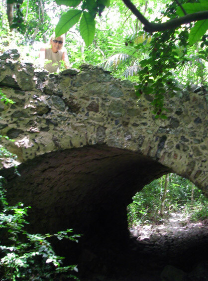Old Danish stone bridge on St John hiking trail