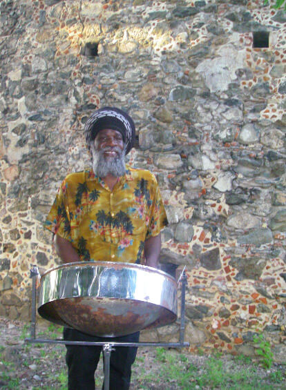 Local steel pan musician at St John Annaberg Ruins wedding