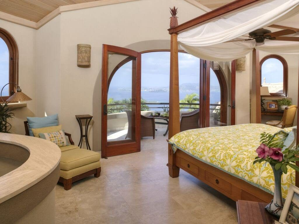 Beautiful Arched Door in Master Suite overlooking Pool and Sunset Views